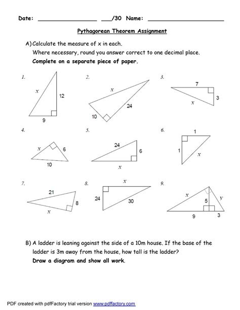 The Pythagorean Theorem Worksheet Answers by 48 Pythagorean Theorem Worksheet With Answers Word Pdf