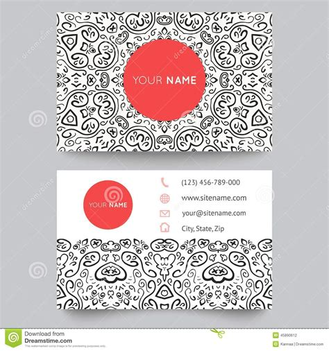 sentence pattern blueprint cards business card template black red and white stock vector