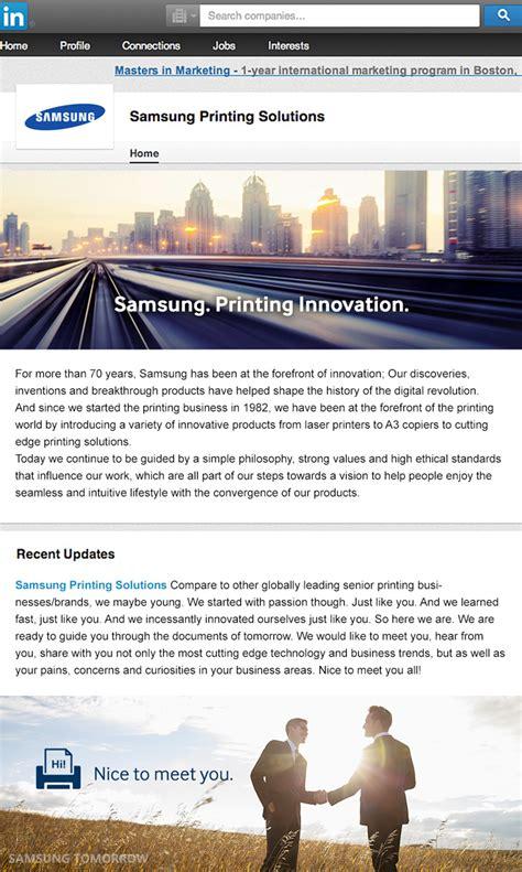 Samsung Electronics America Columbia Mba Linkedin by Samsung Printing Solutions Strengthens Digital Marketing