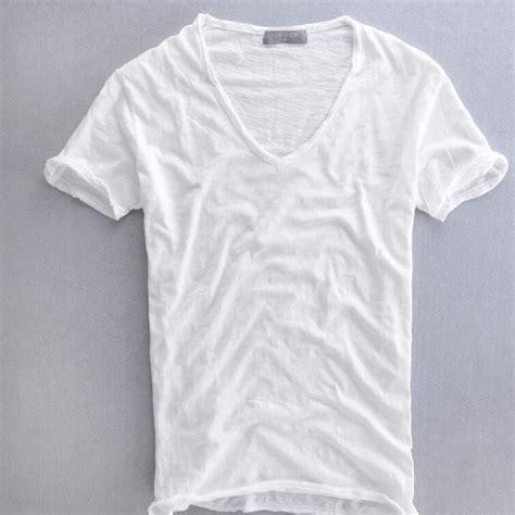 T Shirt Kaos Germany Chiosns White summer mens 100 cotton t shirt plain white breathable s v neck vintage retro tops t