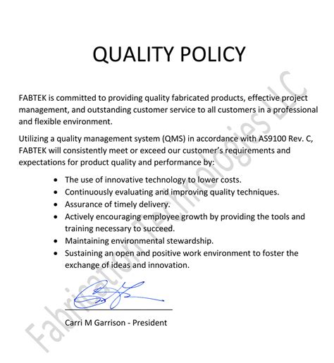 quality policy template essay about commitment to work