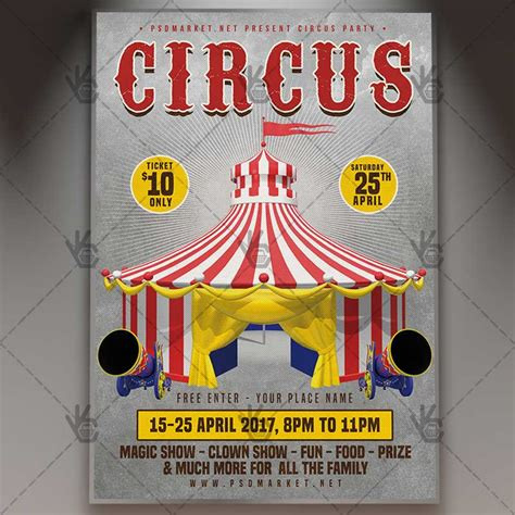 carnival party flyer circus party premium flyer psd template psdmarket