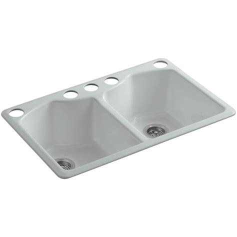 Kohler Cast Iron Kitchen Sinks Kohler Brookfield Undermount Cast Iron 33 In 5 Bowl Kitchen Sink In Grey K 5846