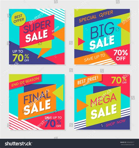 Sale Mainan Anak Trendy Set set colorful trendy sale banner background stock vector 595650917
