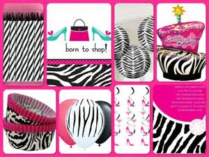 Pink zebra born to shop birthday party theme ideas amp supplies party