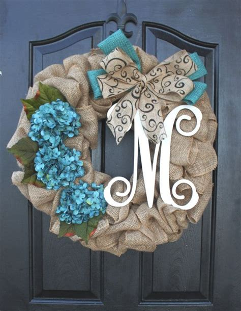 door wreath burlap wreath hydrangea etsy wreath wreaths summer