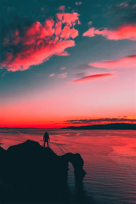 images sunset colors man silhouette horizon