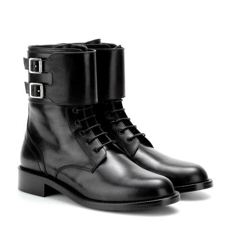 mytheresa patti leather boots flat boots shoes