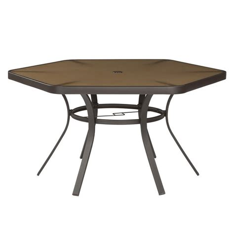 hayden island patio furniture garden treasures hayden island patio hex dining table lowe s canada