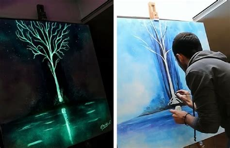 glow in the paint lifespan italian artist crisco glow in the paintings look dazzling