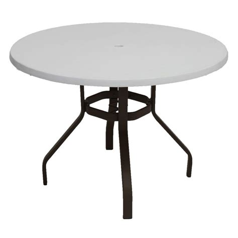 Metal Patio Dining Table Marco Island 42 In Cafe Brown Commercial Fiberglass Metal Outdoor Patio Dining Table