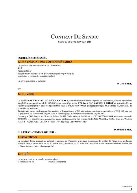 contrat type de syndic par free syndic