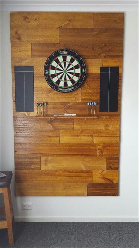 dart board cabinet ideas dart board backing all made from pallets and stained