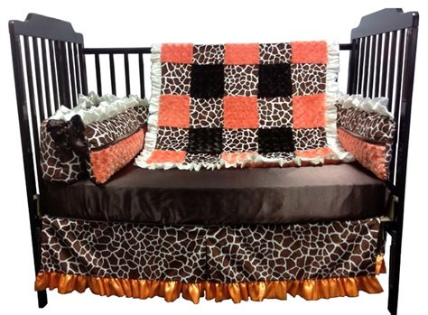 Brown And Orange Crib Bedding Orange And Brown Giraffe Baby Crib Bedding Traditional Baby Bedding By Baby Custom Design