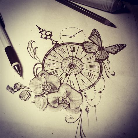 clock face tattoos designs sketch butterfly orchid time s