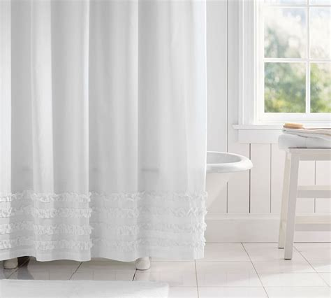 pottery barn ruffle curtains frilly shower curtain set curtain menzilperde net