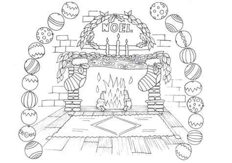 coloring page christmas fireplace drawn fireplace christmas coloring page pencil and in