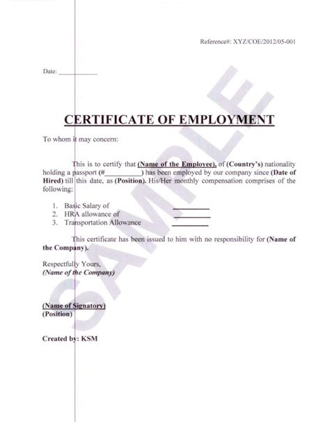 Employment Certificate Letter Request Formal Sle Of Certificate Of Employment With White Paper Background And Editable Blank Date