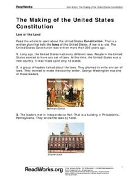 The Constitution Of The United States Worksheet by The Of The United States Constitution 1st Grade