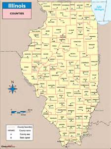 illinois counties and county seats map by maps from