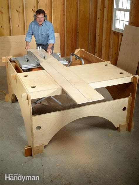 how to build a saw bench diy table saw table the family handyman