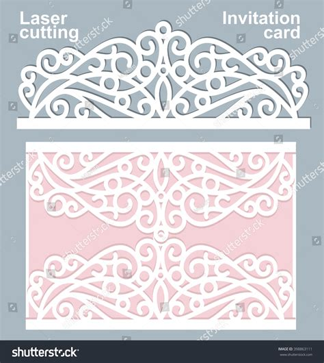 card die cut template vector die laser cut wedding card stock vector 398863111