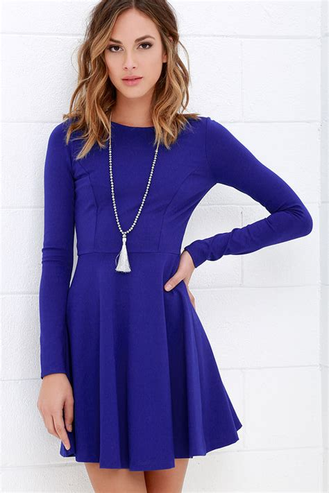 Cute Royal Blue Dress   Long Sleeve Dress   Skater Dress   $57.00