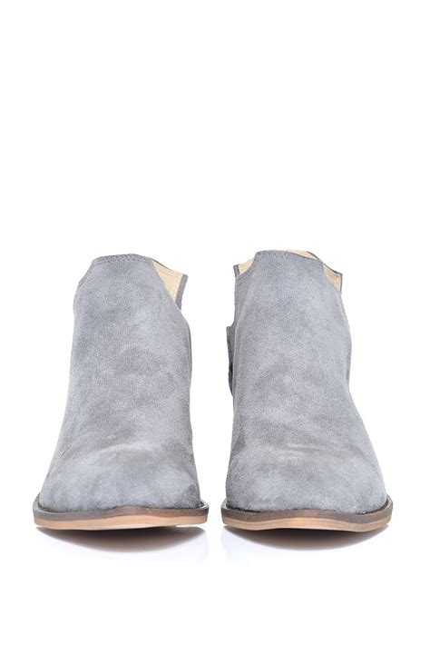 glamorous pointed ankle boots in grey suede iclothing