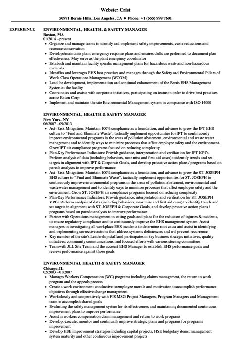 Safety Manager Resume by Environmental Health Safety Manager Resume Sles