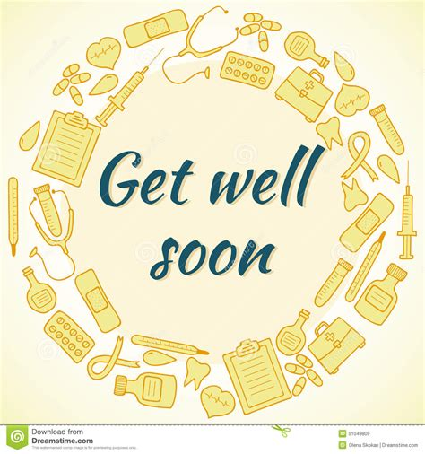 doodle get well soon doodle of object illustration style vector