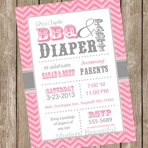 Diapers And Wipes Shower Invitation by Chevron Couples Bbq And Diaper Baby Shower Invitation