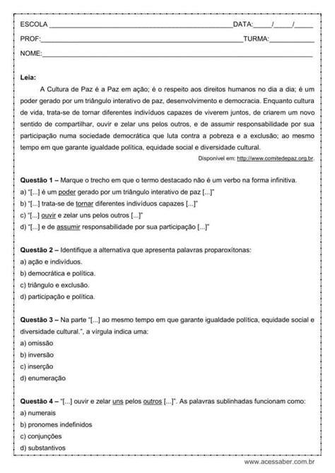 Atividade de português: Verbo no infinitivo - 9º ano