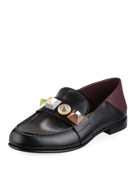 rainbow loafers fendi rainbow stud leather loafer nero bordeaux multi