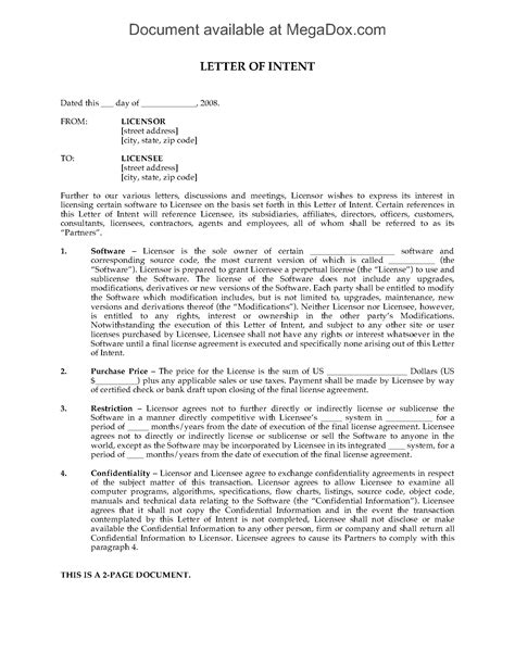 Letter Of Intent To Purchase Software Licenses letter of intent to grant perpetual software license
