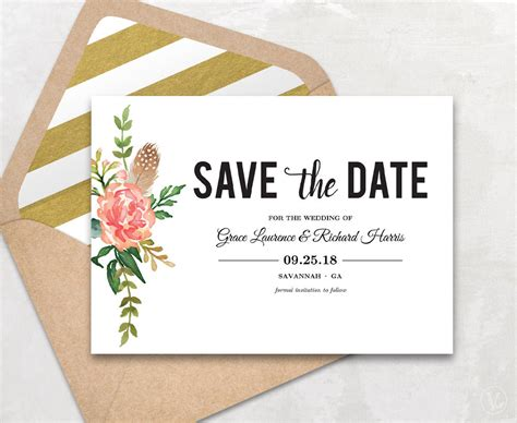 Save The Date Cards Templates 2 Save The Date Template Floral Save The Date Card Boho Save