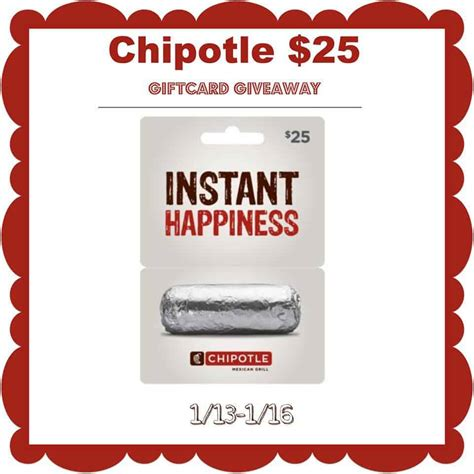 Chipotle Uk Gift Card - win 25 chipotle gift card in this quick giveaway