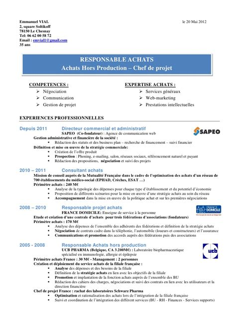 Industrial Maintenance Resume Examples by Exemple De Cv Responsable Achats En Chimie