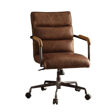 dark brown leather desk chair acme furniture harith retro brown top grain leather office