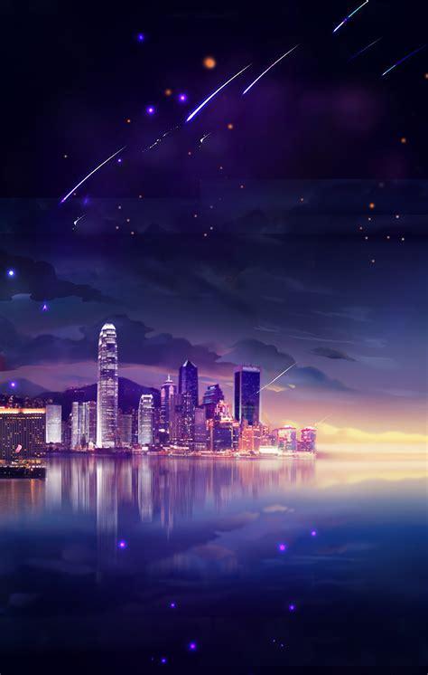 beautiful city night sky tanabata poster background psd