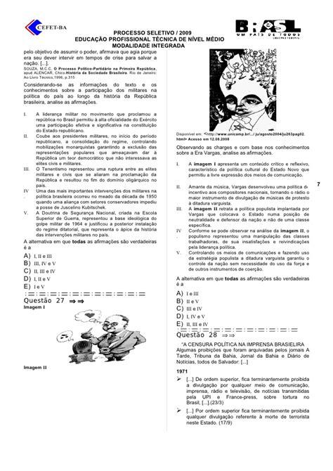 Prova Integrada Cefet 2009