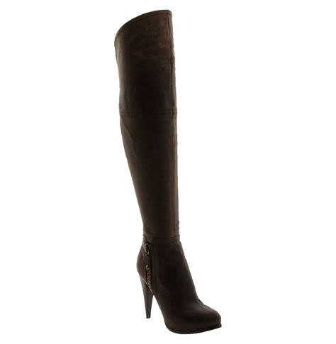 guess the knee boots guess never the knee boot in brown brown lyst