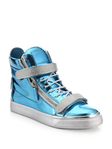 giuseppe sneakers giuseppe zanotti swarovski bar metallic high top