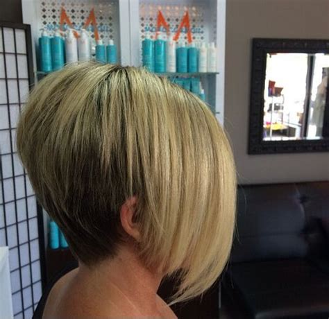 bobs with longer sides stacked bob for round face with bangs pic short