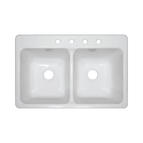 Shop Lyons Bravo 33 In X 22 In White Double Basin Acrylic Acrylic Kitchen Sink Reviews