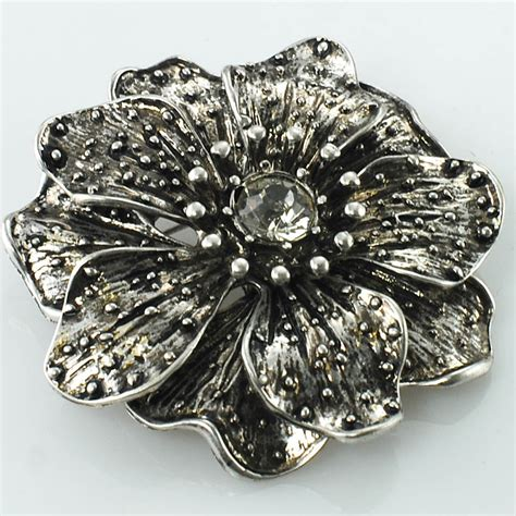 Rhinestone Floral Brooch floral brooch with center rhinestones