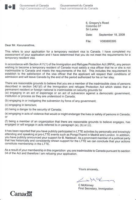 Letter To Embassy For Visa Refusal canadian visa refusal letter image collections