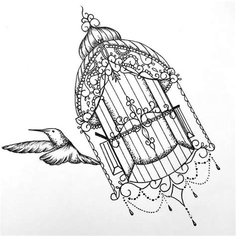 black and white bird tattoo designs black and white bird flying fron ornamented cage
