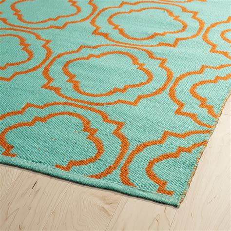 Turqoise Rug by Brisa Quatrefoil Rug In Turquoise And Orange