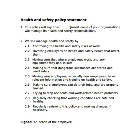 health and safety statement of intent template health and safety statement of intent template 28 images
