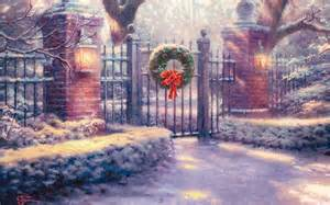 thomas kinkade christmas backgrounds wallpaper cave